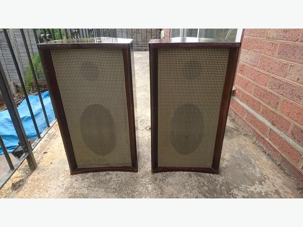 VINTAGE PAIR EMI MATCHING COMPLETE SPEAKER CABS WITH 4 EMI SPEAKERS