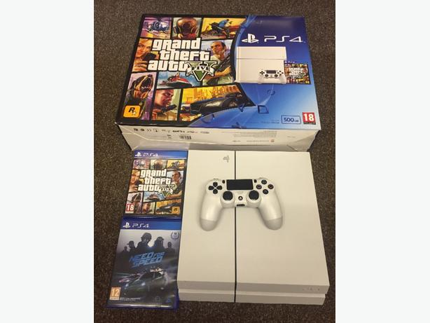 White PS4 Boxed with GTA V & Need for Speed