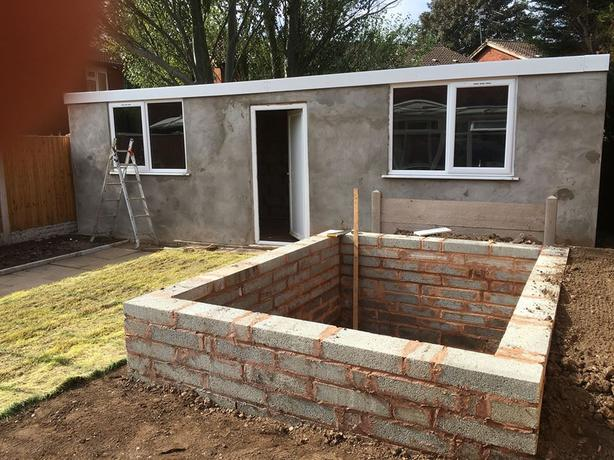 block sheds, ponds and decking