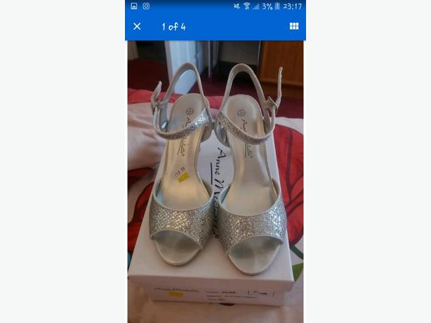 silver high heels size 4