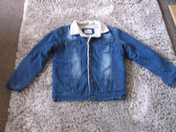 "Mens fur lined denim jacket size large (44-46"" chest) brand new"