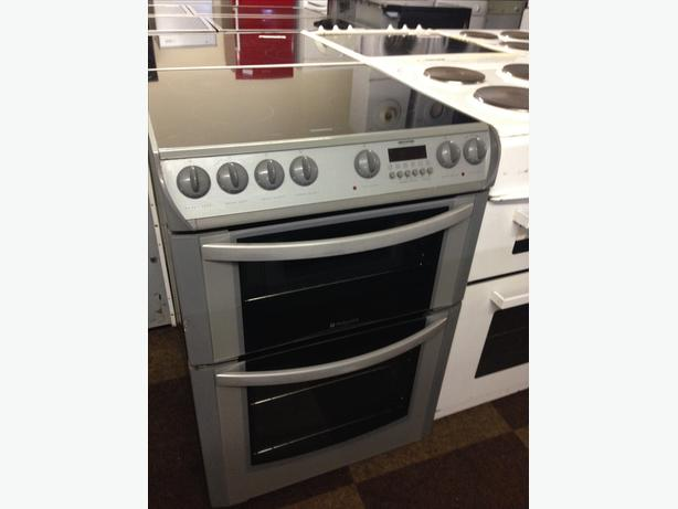 GREAT 60 CM GREY HOTPOINT ELECTRIC COOKER WITH GUARANTEE