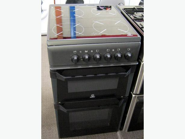 Indesit Black / Charcoal 50cm Electric Cooker, Ceramic Hob, 6 Month Warranty