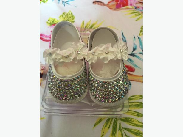 brand new 3-6 months Swarovski crystal handmade shoes