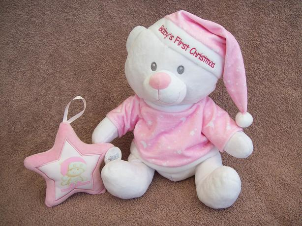 """12"""" high """"Baby's First Christmas"""" teddy, plus hanging star"""