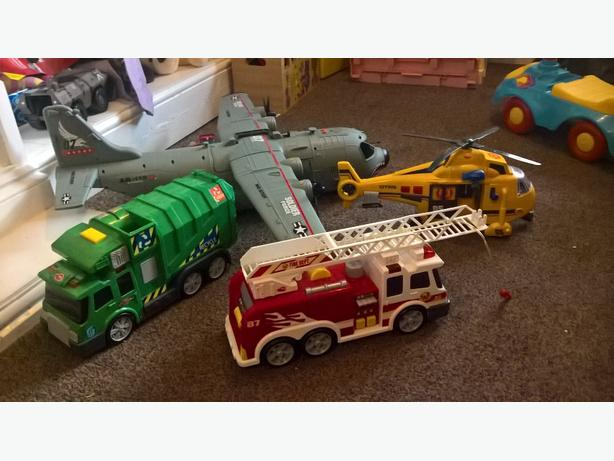 big toys plane fire engine rubbish truck helicopter