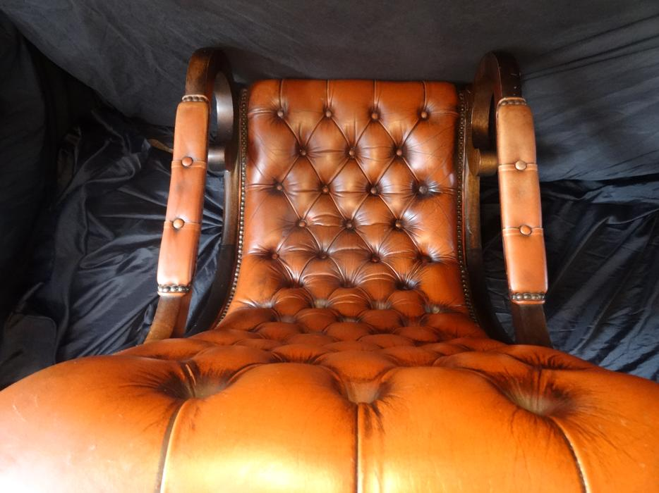 20th Century Chesterfield Style Handmade Light Tan Leather