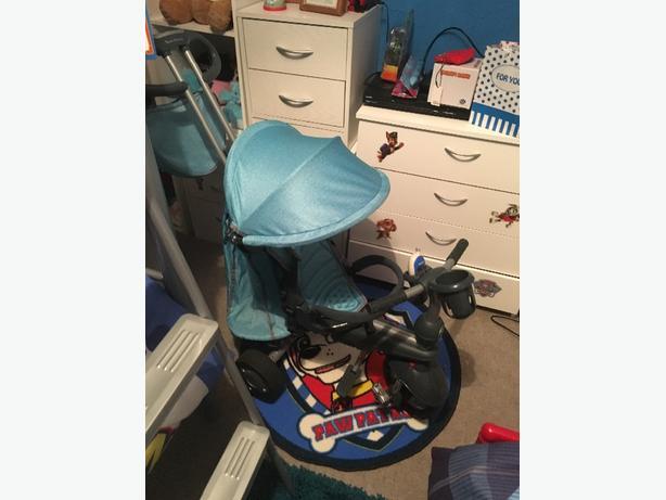 blue 5 in one smart trike like new