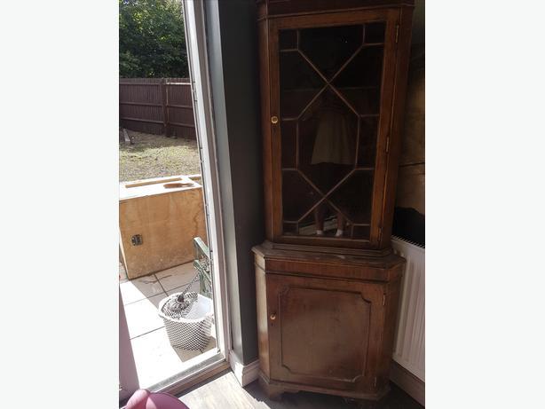 corner half glass cabinet