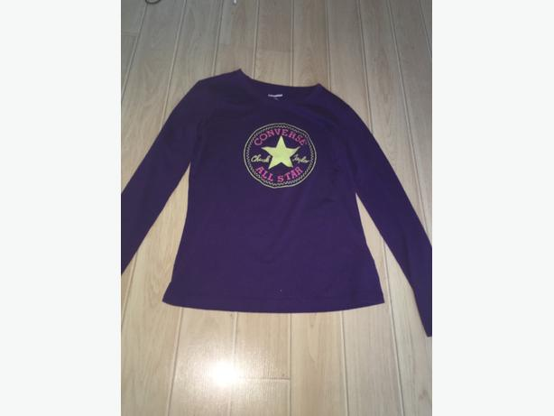Purple converse long sleeved tshirt aged 12-13 yrs