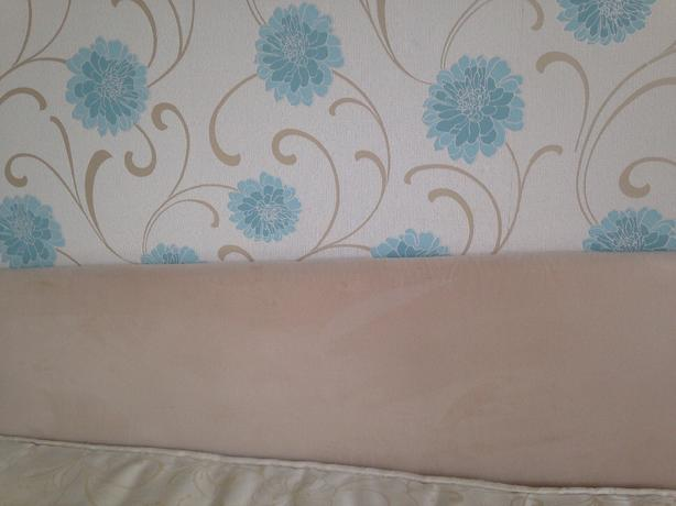 cream fabric headboard
