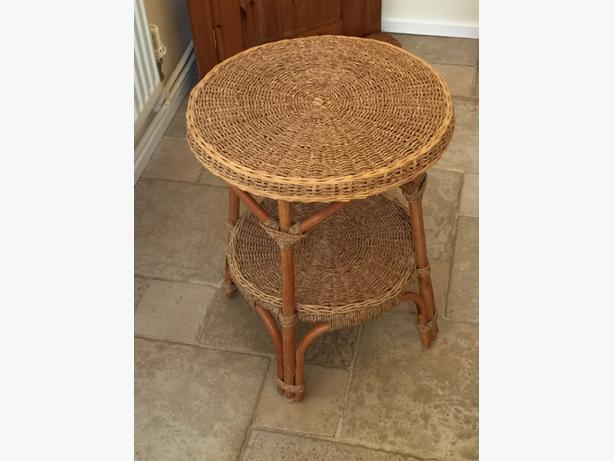 Wicker Round Small Lamp Table Coseley Dudley