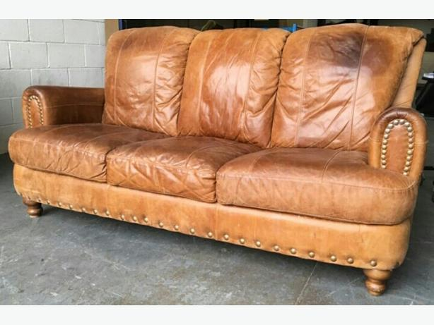 Natural Aniline Distresses Leather 3 Seat Sofa. WE DELIVER