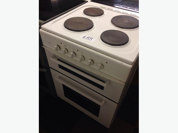 WHITE PLATED TOP ELECTRIC DOUBLE OVEN COOKER