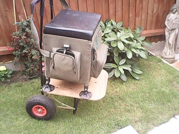 For sale fishing trolley and seat box.