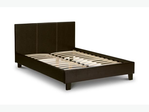 Faux leather double bed in brown