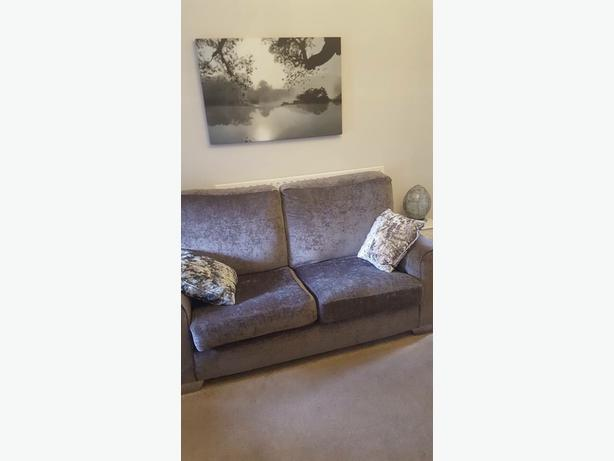 large two seater and two arm chairs grey sofa sette