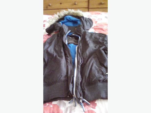 Superdry wind bomber jacket black/blue size xl (14-16)