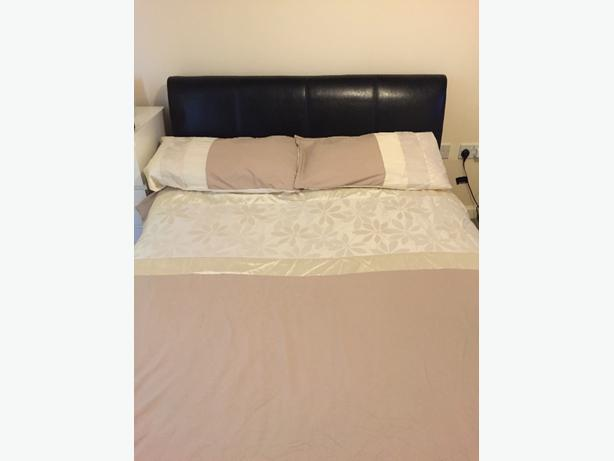 Double Bed - Black Leather