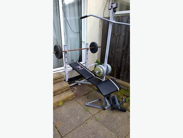 York Home Multi Gym Workout Bench Cast Iron Weights