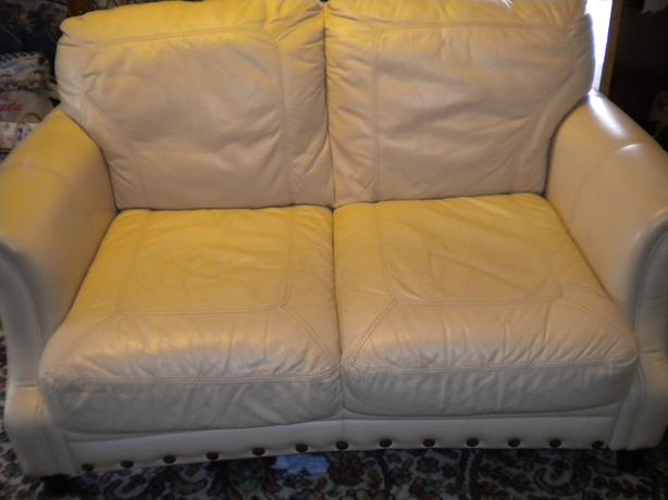 LEATHER BEIGE TWO SEATER SETTEE