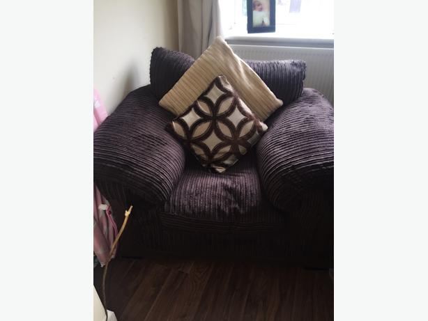Fabric chocolate brown Armchair from DFS