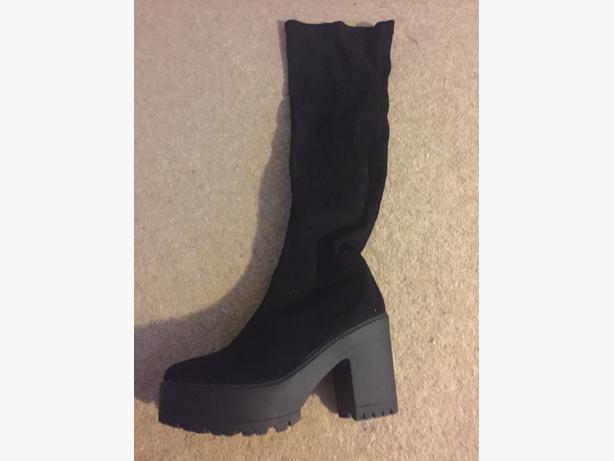 thigh black suede platform heel boots size 7