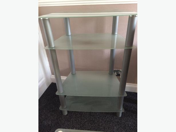 glass unit , tables and lamp