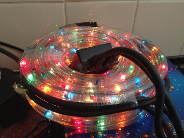 christmas rope lights 8m multi colour with chaser function x 2 boxes