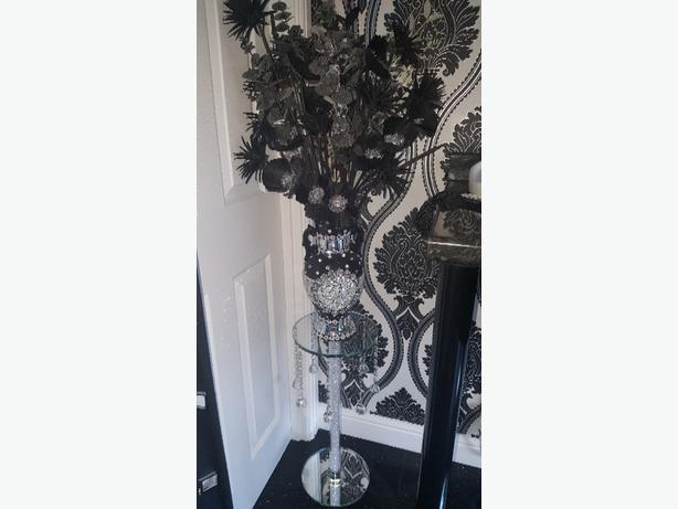 crystal glass stand vase and flowers