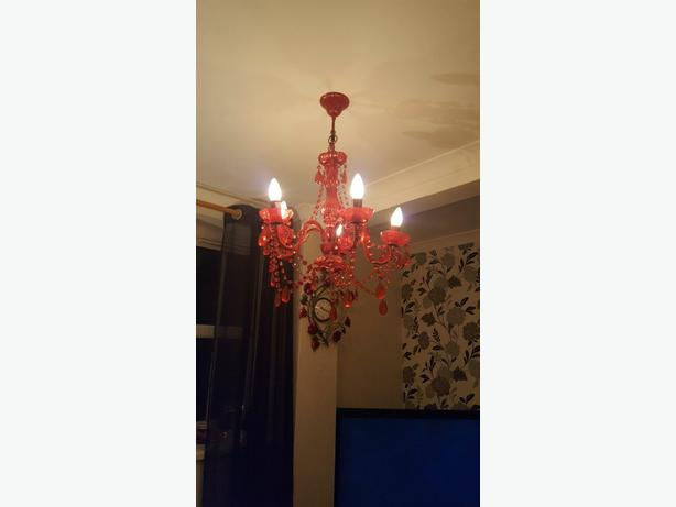 2 x red chandeliers