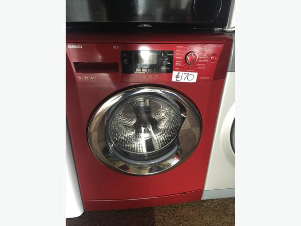 GREAT VALUE RED BEKO WASHING MACHINE - LARGE 9KG WITH 1400 SPIN