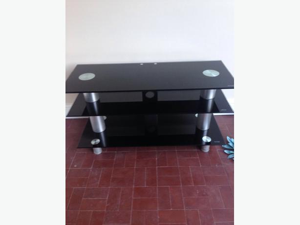 Black Glass Curved  TV Stand