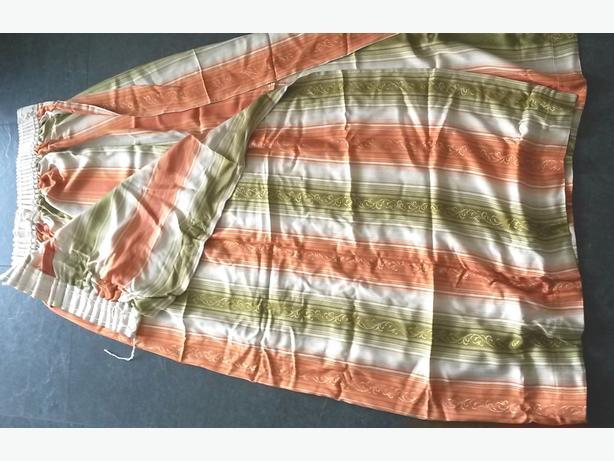 retro style green / white / orange striped curtains