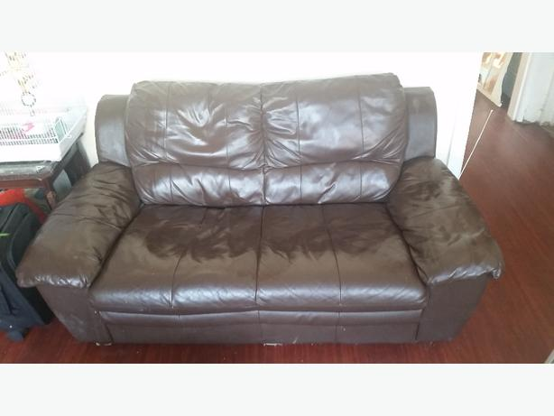 FREE: Brown Leather Two Seater Sofa