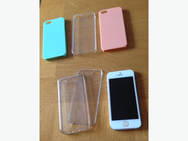 Iphone 5, White, 16GB incl Glass screen protector & 5 iphone 5 cases