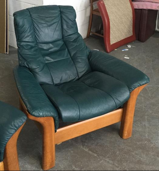 Rrp 163 1500 Ekornes Stressless Green Leather Reclining