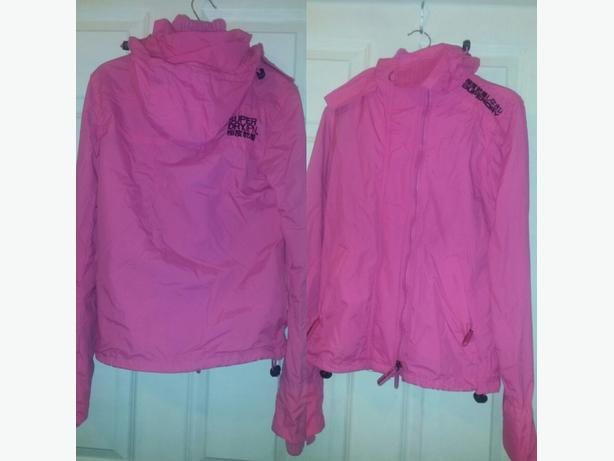 pink superdry coat
