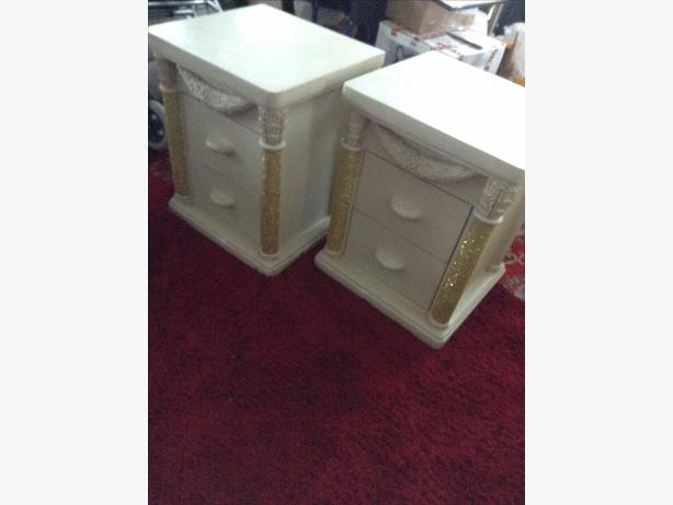 Italian Cream Bedside Cabinet with Cream Mirror.