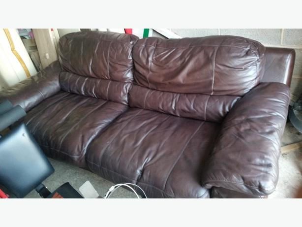 dark brown leather 3+1 sofa
