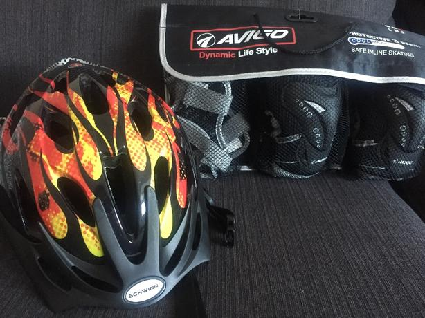 kids bike helmet and pads