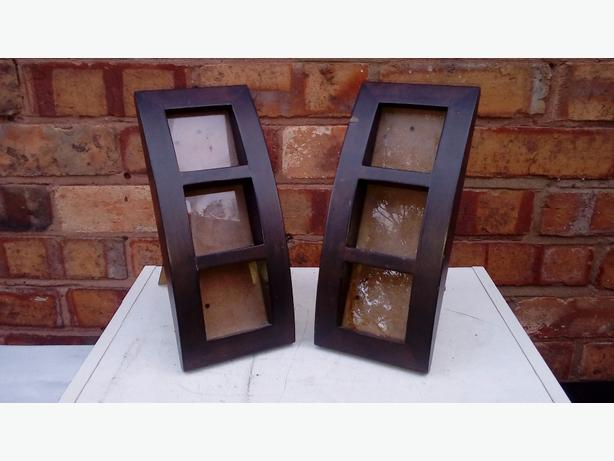 2 brown photo frames