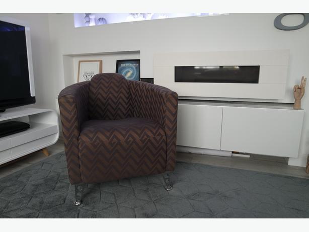 Pair Modern Geometric Designer Style Tub Chairs TK Maxx