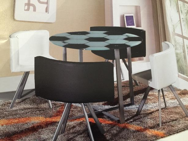football shape dining table and chairs