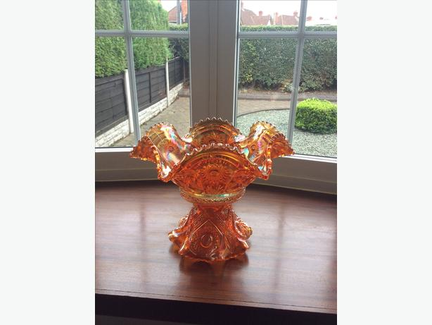 Carnival glass fruit bowl and stand
