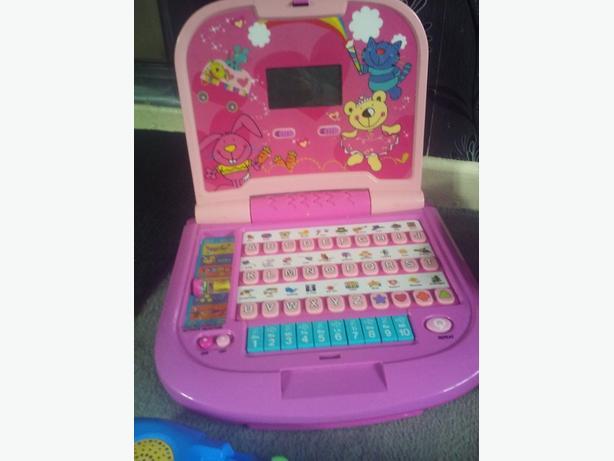 pink toddler learning laptop