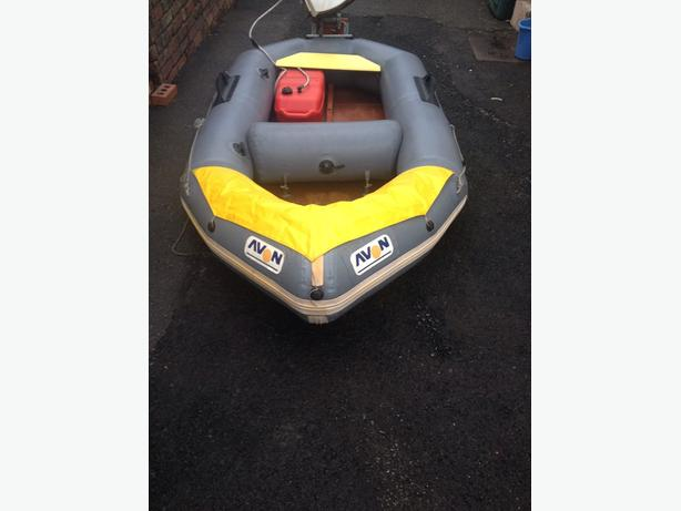 Avon inflatable dinghy with outboard engine