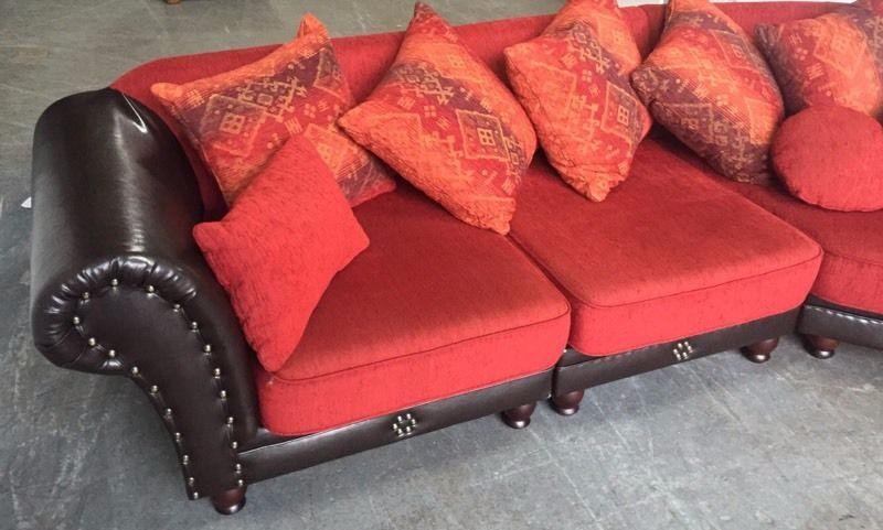 Stunning Huge Made In Germany Fabric Studded Changeable Corner Sofa We Deliver Smethwick