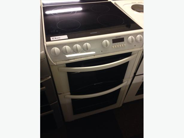 60CM HOTPOINT FAN ASSISTED DOUBLE OVEN ELECTRIC COOKER