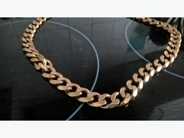 9crt Gold Flat Curb Mens Chain